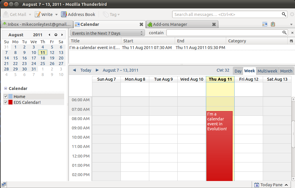 The Lightning add-on, displaying an event from an EDS calendar