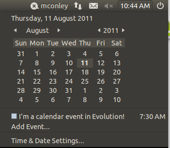 The indicator-datetime applet on the Ubuntu desktop, opened to show the calendar, and some events from the calendar