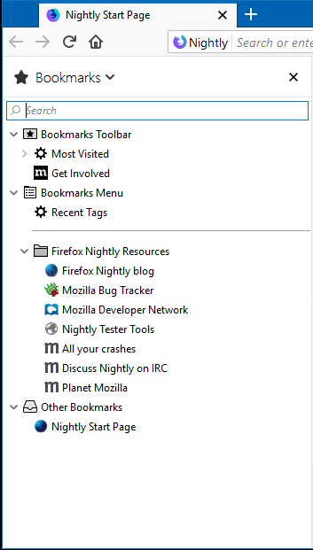 The bookmarks sidebar